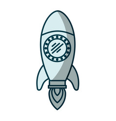 blue shading silhouette of space rocket vector image vector image