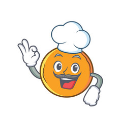 Chef orange fruit cartoon character vector