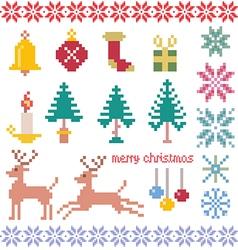 christmas winter pixels vector image vector image