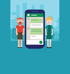 couple man woman chat on mobile device smart-phone vector image