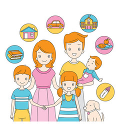 Family standing together with icons vector