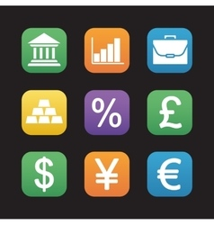 Finance and banking flat design icons set vector image