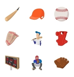 Game with bat icons set cartoon style vector image