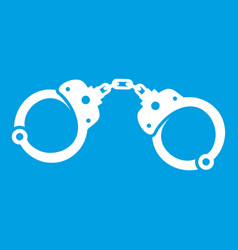 Handcuffs icon white vector