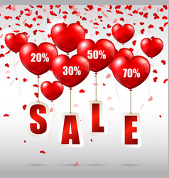 Heart shaped balloons with sale advertisement vector