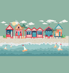 Landscape with beach huts in a row vector