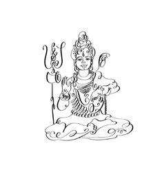 line art Lord Shiva black and white calligraphic vector image vector image