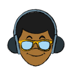 man with music headphones vector image vector image