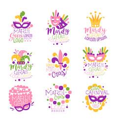 Mardi gras carnival logo original design set hand vector
