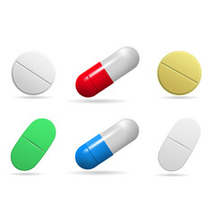 Medicinal tablets set of oval round and capsules vector