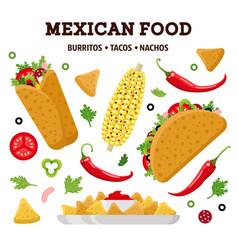 mexican food color set vector image vector image
