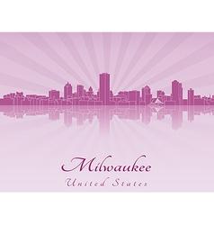 Milwaukee skyline in purple radiant orchid vector