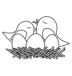 Monochrome silhouette of bird in nest with eggs vector