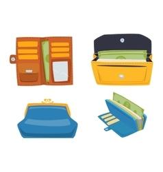 Open purse wallet set vector