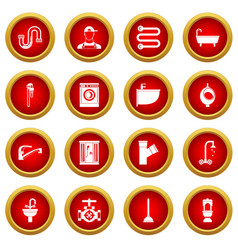 Plumbing icon red circle set vector