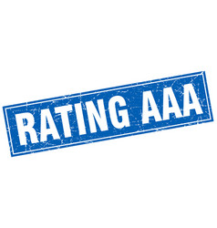 Rating aaa blue square grunge stamp on white vector
