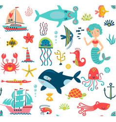 Sea seamless pattern vector