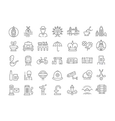 Set Flat Line Icons UK vector image