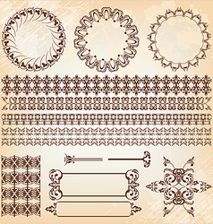 set of abstract baroque pattern vector image vector image