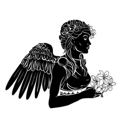 Stylised angel woman vector