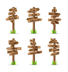 wooden arrow signboards resort set vector image