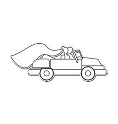 bride and groom on car icon vector image