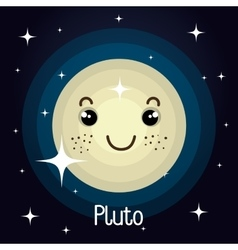 Pluto planet character space background vector