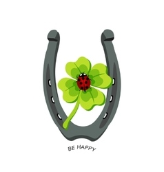 Symbols for good luck horseshoe clover ladybug vector