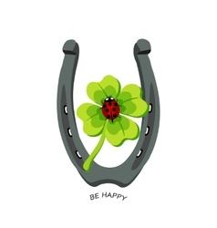Symbols for good luck horseshoe clover ladybug vector