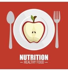 Nutrition healthy food tasty half apple vector