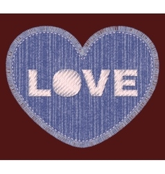 Denim patch with love embroidery vector