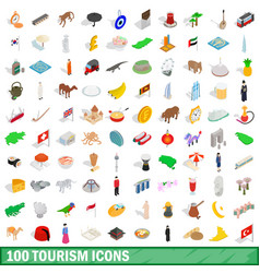 100 tourism icons set isometric 3d style vector
