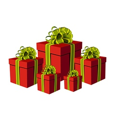 Red gift boxes vector