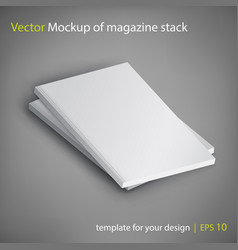 Mockup of magazine stack on gray background vector