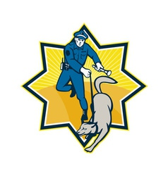 Policeman police dog canine team vector