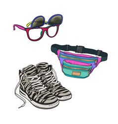 Retro fashion - high sneakers sunglasses with vector