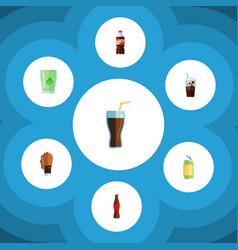 Flat icon beverage set of bottle soda fizzy vector