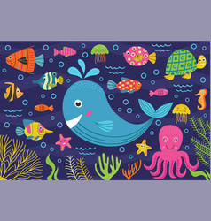 Marine animals in the sea vector