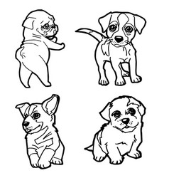 Set of cartoon cute dog coloring page vector