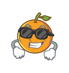Super cool orange fruit cartoon character vector