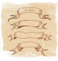 Ribbon set sketch vector