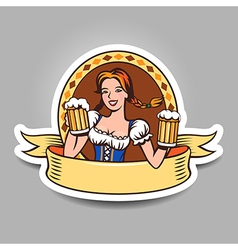 Beer girl sticker vector image