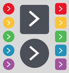 Arrow right next icon sign a set of 12 colored vector