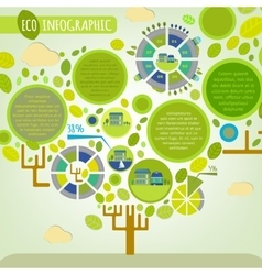 Tree town infographics vector