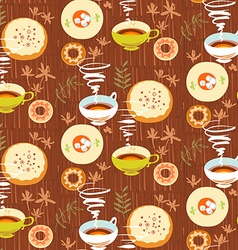 Tea seamless pattern stylized tea cups plates with vector