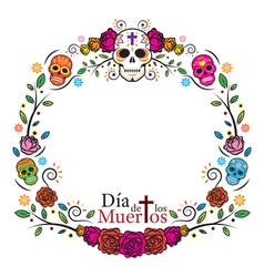 Day of the dead skulls frame vector