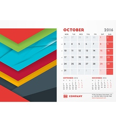 October 2016 desk calendar for 2016 year vector