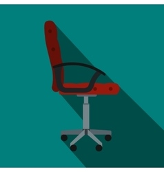 Red office chair icon flat style vector