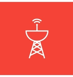 Radar satellite dish line icon vector