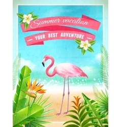 Flamingo bird exotic summer vacation poster vector